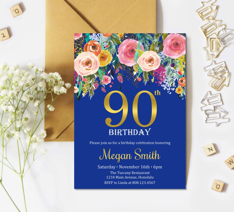 90th Birthday Invitations For Women Any Age Surprise