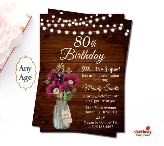 80th Birthday Invitations For Women Burgundy Floral