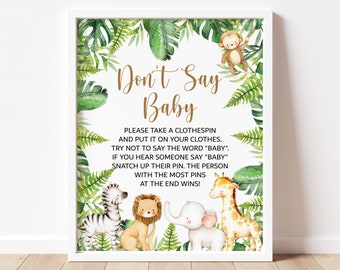 Don't Say Baby Clothespins Game Jungle Baby Shower Jungle Animals Cute Safari Baby Shower Game Sign Printable Tropical Instant Download C94