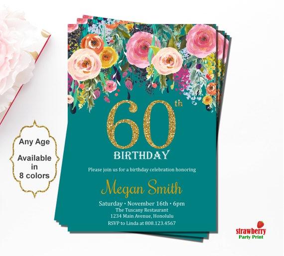 60th Birthday Invitations Surprise 60th Birthday Invitations Etsy