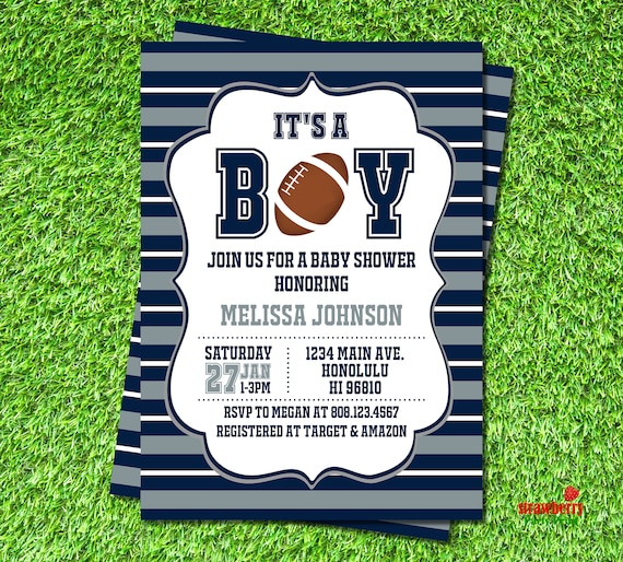football baby shower invitation nfl baby shower invitation etsy