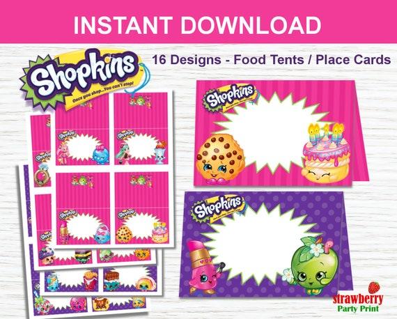 Shopkins Food Labels Editable Tent Cards Place