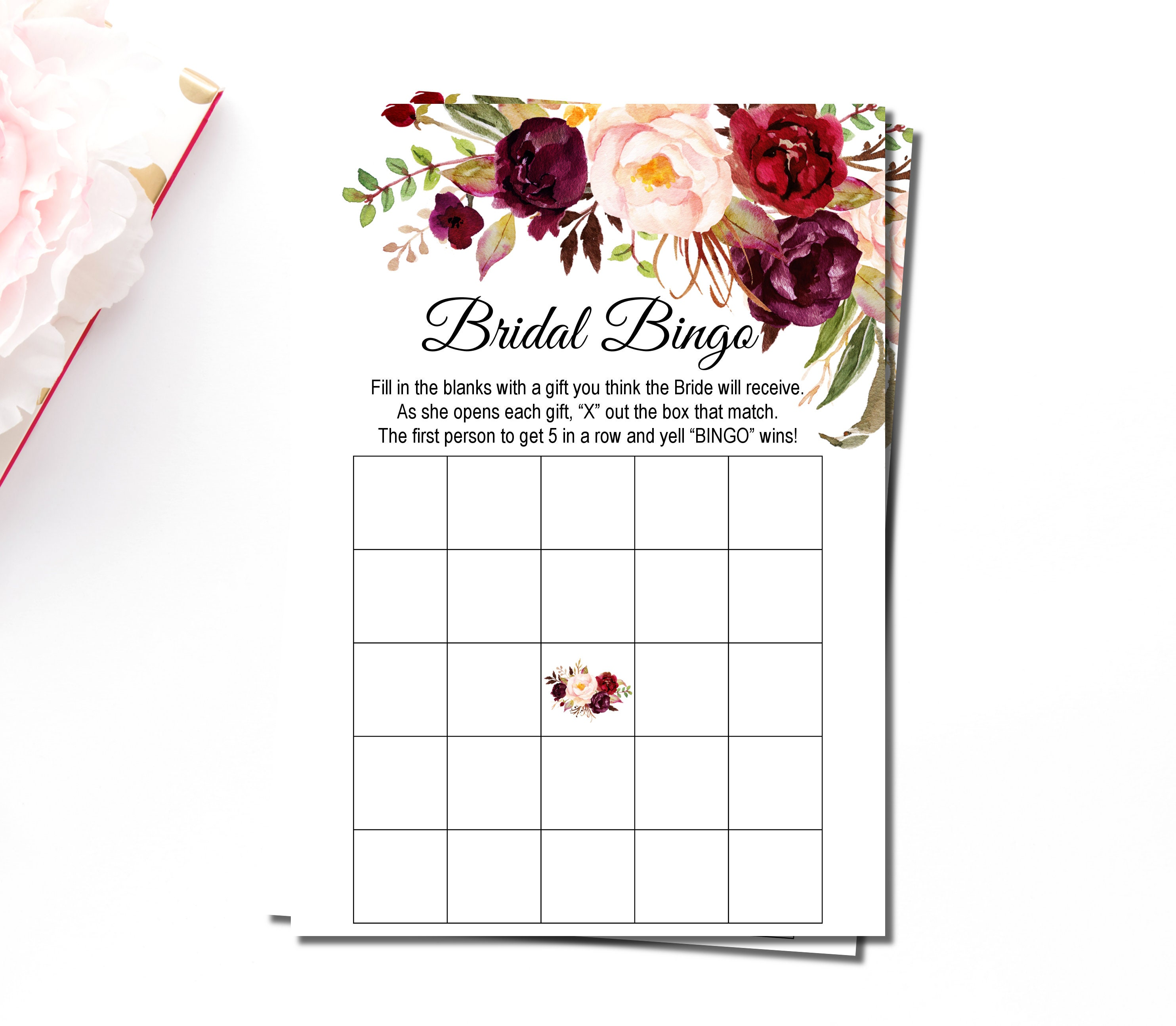 Burgundy Bridal Shower Bingo Printable Floral Marsala Maroon Etsy