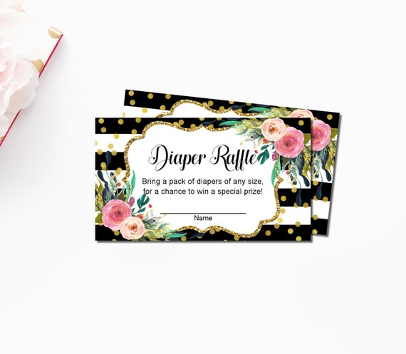 floral diaper raffle tickets printable black white gold etsy