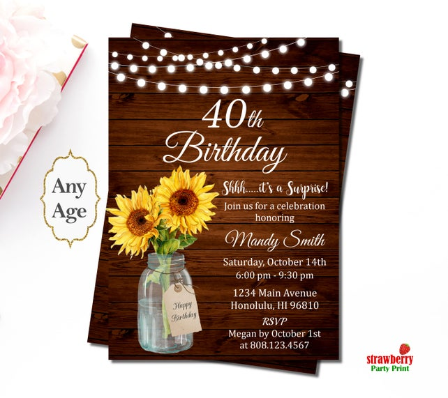 40th Birthday Invitations For Women Rustic Sunflower Floral Mason Jar Wooden Surprise Invitation Custom
