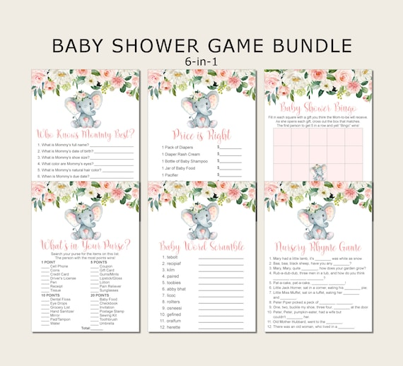 Elephant Baby Shower Games Mom and Baby Elephant Set of 8 Instant Print Party Games Printable Baby Shower Games Bundle