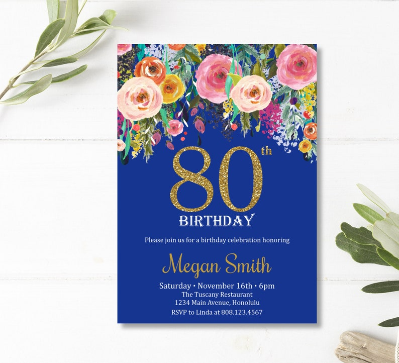 80th Birthday Invitations For Women Surprise