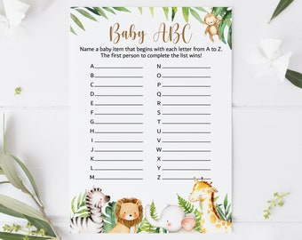 Baby ABC Game Jungle Baby Shower Game Jungle Animals Safari Baby Shower Game Printable Gender Neutral Instant Download C94
