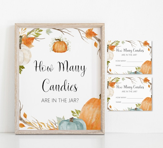 How Many Candies Are In The Jar Fall Baby Shower Game Pumpkin