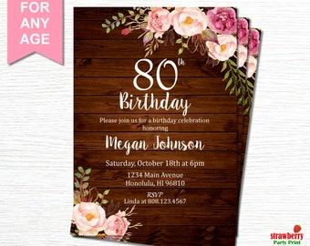 80th birthday invitations etsy filmwisefo