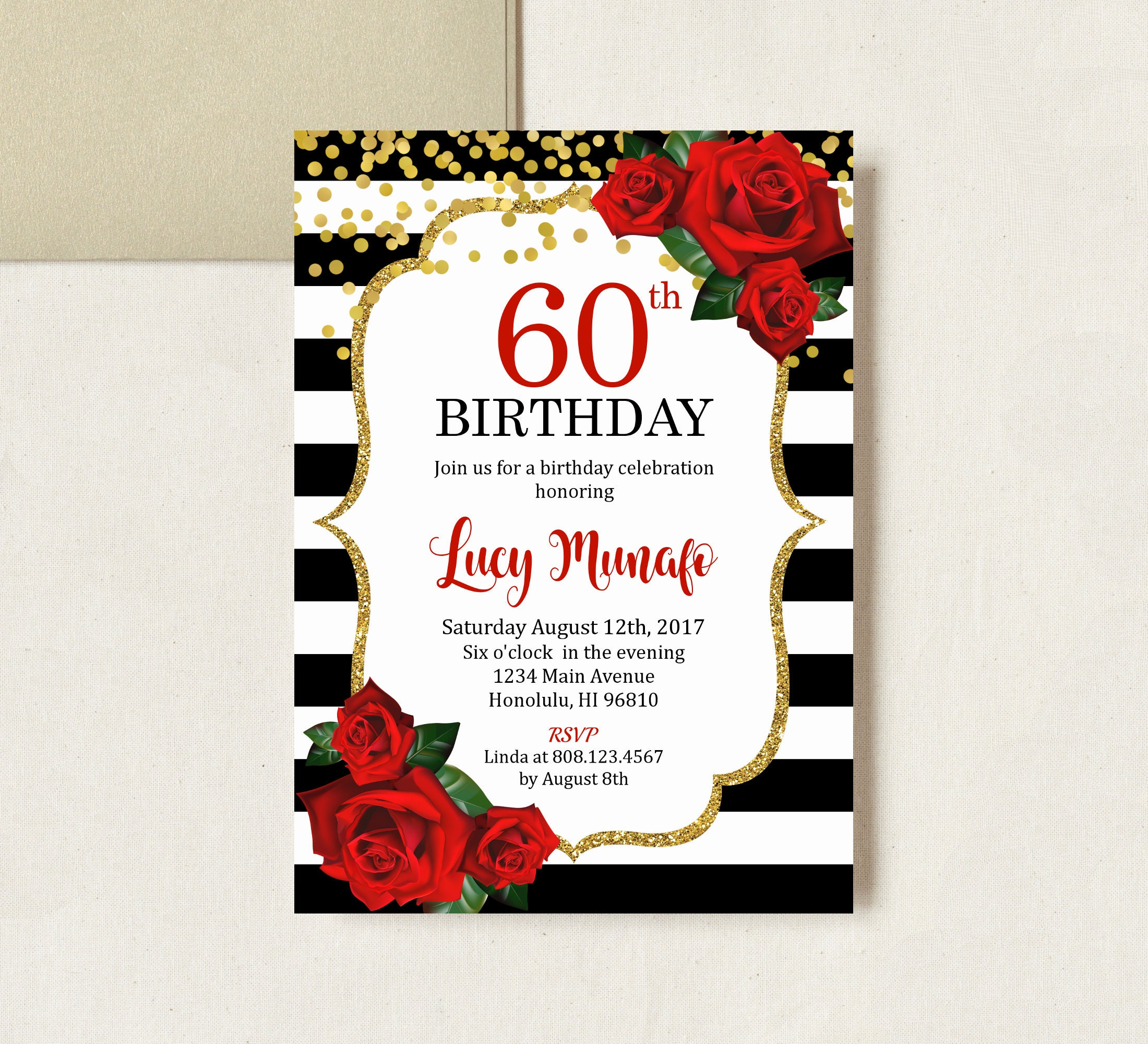 60th Birthday Invitation Women Birthday Invitation Floral Red | Etsy