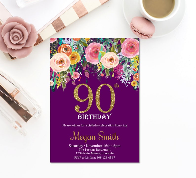90th Birthday Invitations Women Invitation Floral