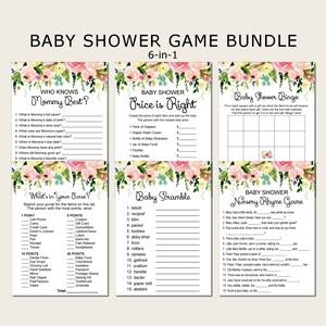 Fall Baby Shower Games Bundle Pumpkin Floral Baby Shower Games Package 6 Games Printable Instant Download