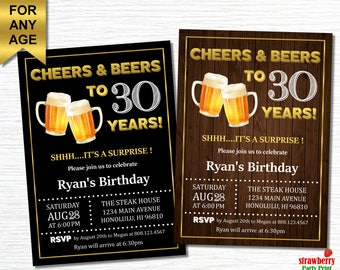 30th Birthday Invitation for him, Cheers and Beers to 30 years, Beer Birthday Invitation, Surprise Birthday Invitation, A21