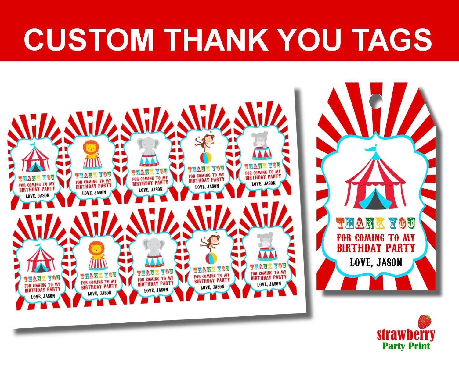 Zirkus Favor Tags Karneval danke Tags Zirkus-Danke-Tag | Etsy