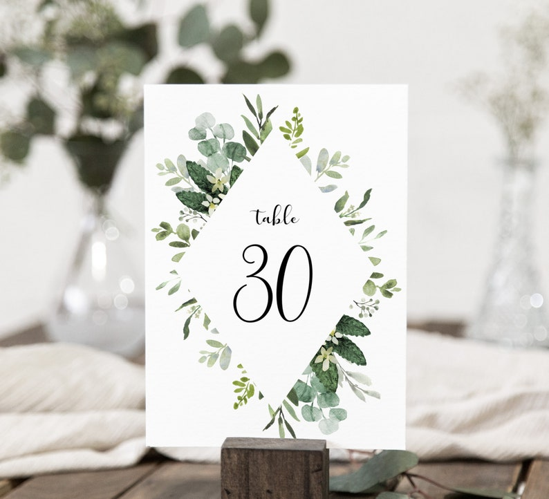 Leaves Wedding Table Numbers DIY Printable Decorations Templett Editable pdf Greenery Woodland Printable Table Numbers INSTANT DOWNLOAD