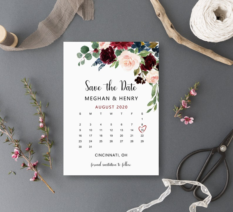 Greenery Wedding Announcement Save the Date Calendar Printable B81 Burgundy Blush Floral Personalized Digital File