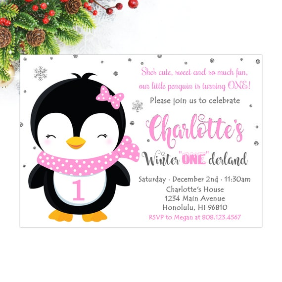Penguin Birthday Invitation Girl Winter Onederland Etsy