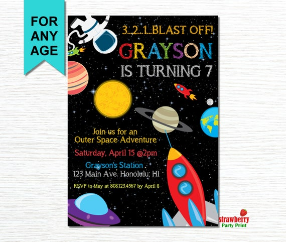 Space Invitation Space Birthday Invitation Rocket Ship
