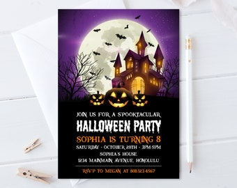 Halloween Birthday Invitation Halloween Costume Party Invite Haunted House Spooky Pumpkin Personalized Digital File A52