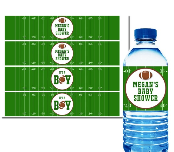 Football Water Bottle Labels Baby Shower Party