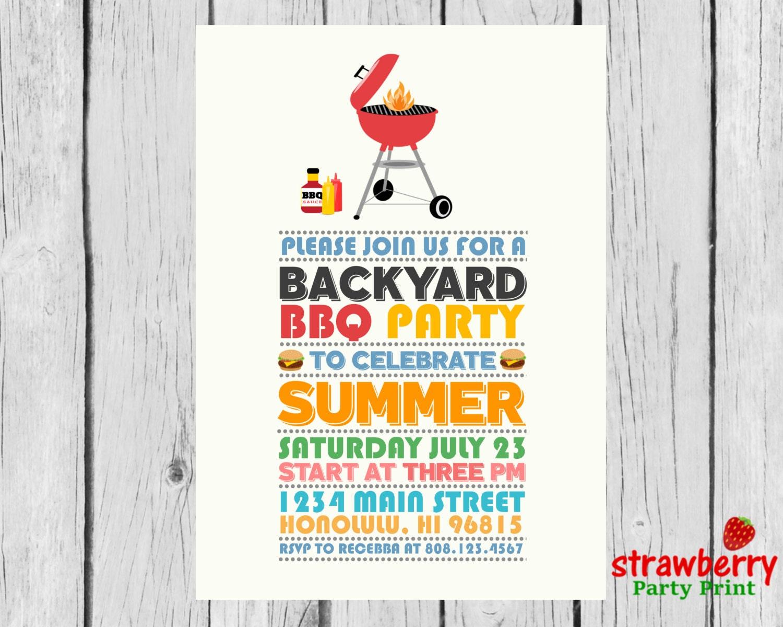 BBQ Invitations BBQ Party Invitation Summer Party | Etsy
