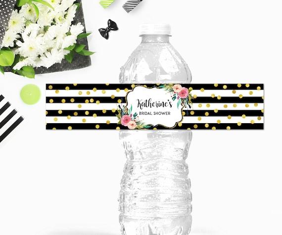 Custom Black & White Water Bottle Labels Printable Pink