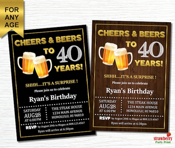 Cheers And Beers To 40 Years 40th Birthday Invitation For