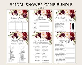 Burgundy Bridal Shower Games Bundle Marsala Maroon Pink Floral Bridal Shower Games Package Printable Instant Download B61