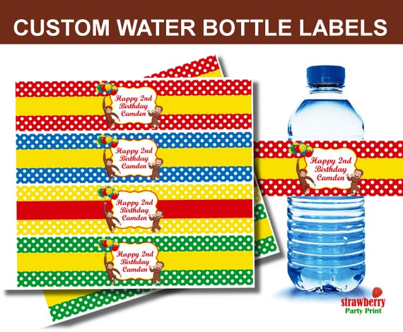 Custom Curious George Water Bottle Labels Printable Curious George Party Favors Curious George Birthday Decorations