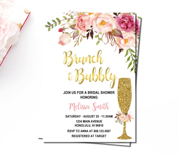 c3bbd78e792e Brunch   Bubbly Bridal Shower Invitation Pink Floral and