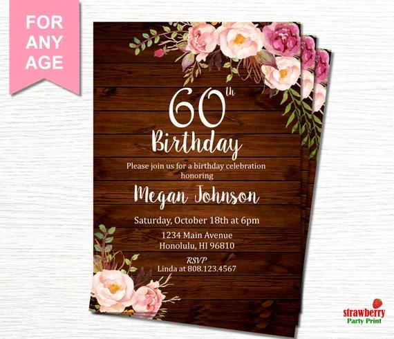 60th birthday invitations for women floral birthday etsy image 0 filmwisefo