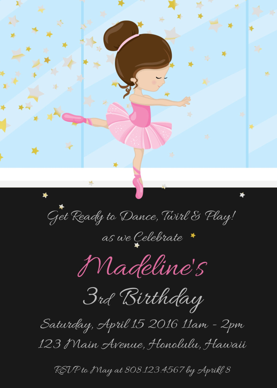 ballerina invitation, ballerina birthday party invitation, ballet birthday invitation, ballerina party invite, party printables