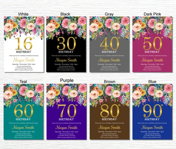 90th Birthday Invitations For Women Party