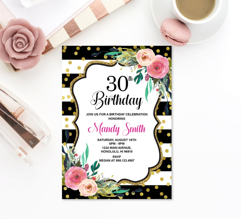 30th Birthday Invitation Black White Gold Pink Floral Women