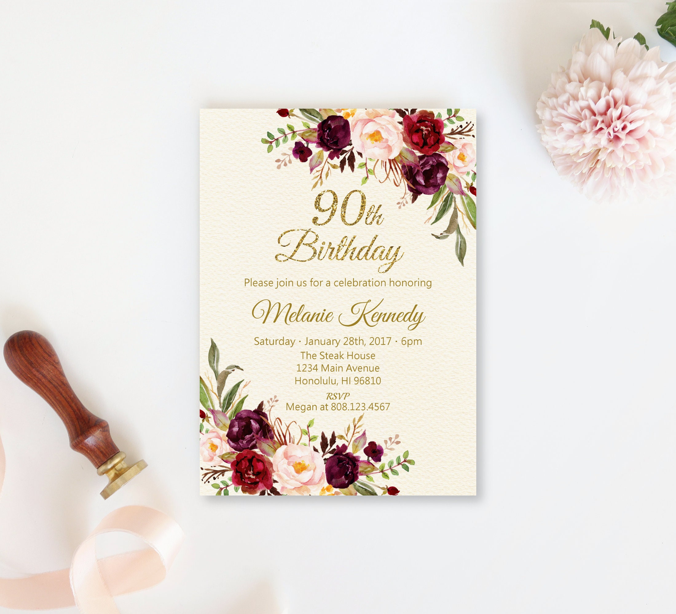 90th Birthday Invitations For Women Burgundy Red Floral Etsy