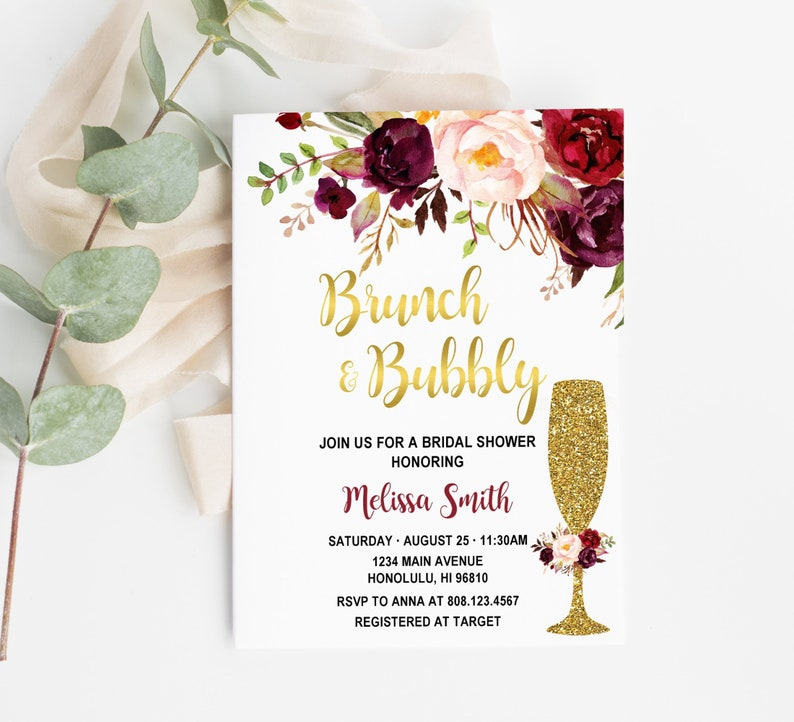 6d487160e7c4 Burgundy Brunch   Bubbly Bridal Shower Invitation Bridal