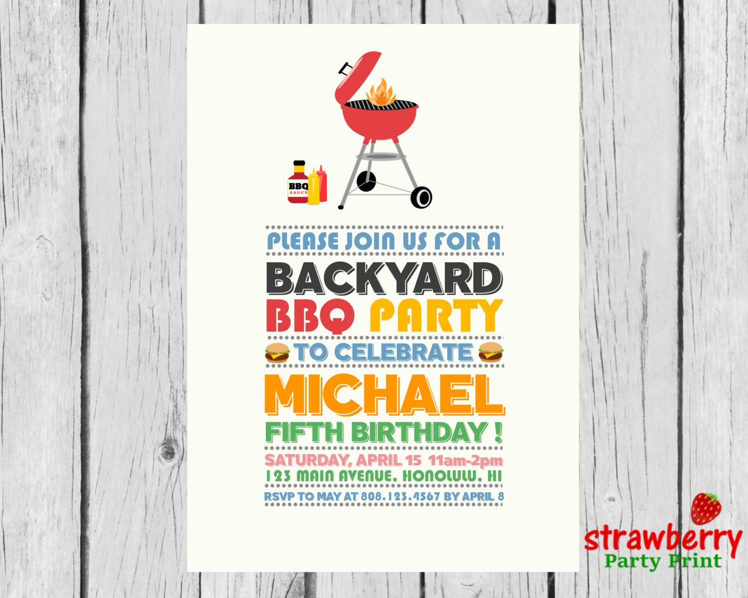BBQ Birthday Invitation Barbeque Party Invite Cookout | Etsy