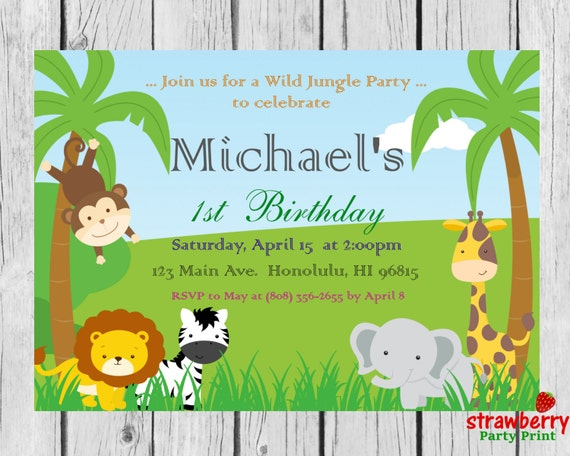 Safari Birthday Invitation Jungle Birthday Invitation Safari Etsy