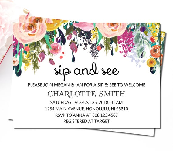 sip and see invitation girl meet and greet baby invitations etsy
