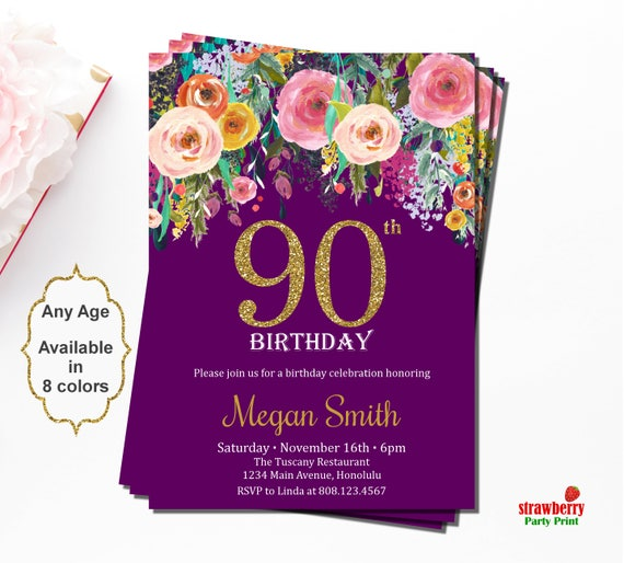 90th Birthday Invitations 90th Birthday Party Invitations