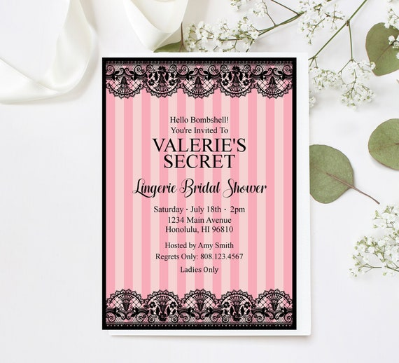0f91a543d07f Lingerie Shower Invitation Bridal Shower Invitation Pink