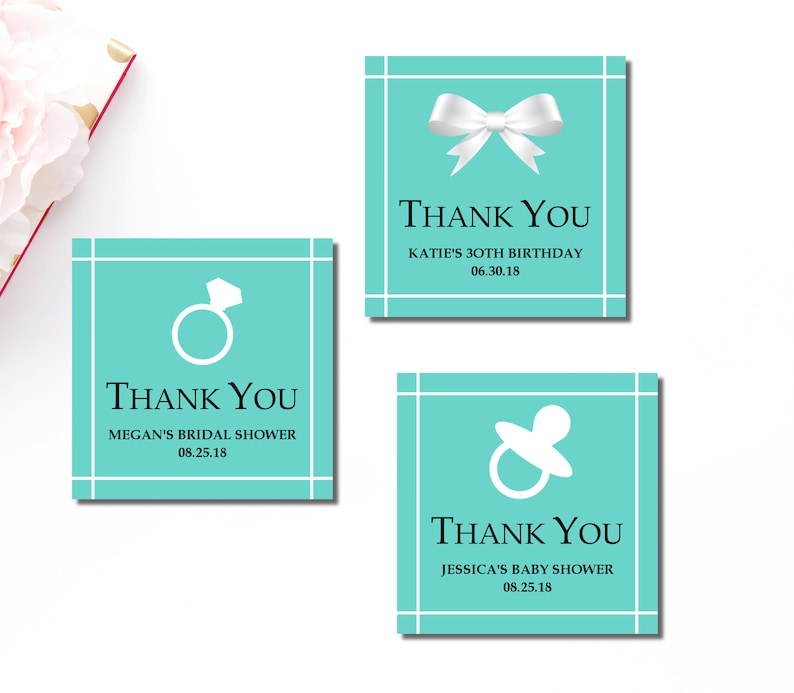 Tiffany Favor Tags Custom Printable Teal Blue
