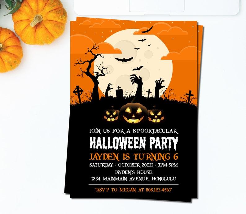 Halloween Birthday Party Invitation Kids