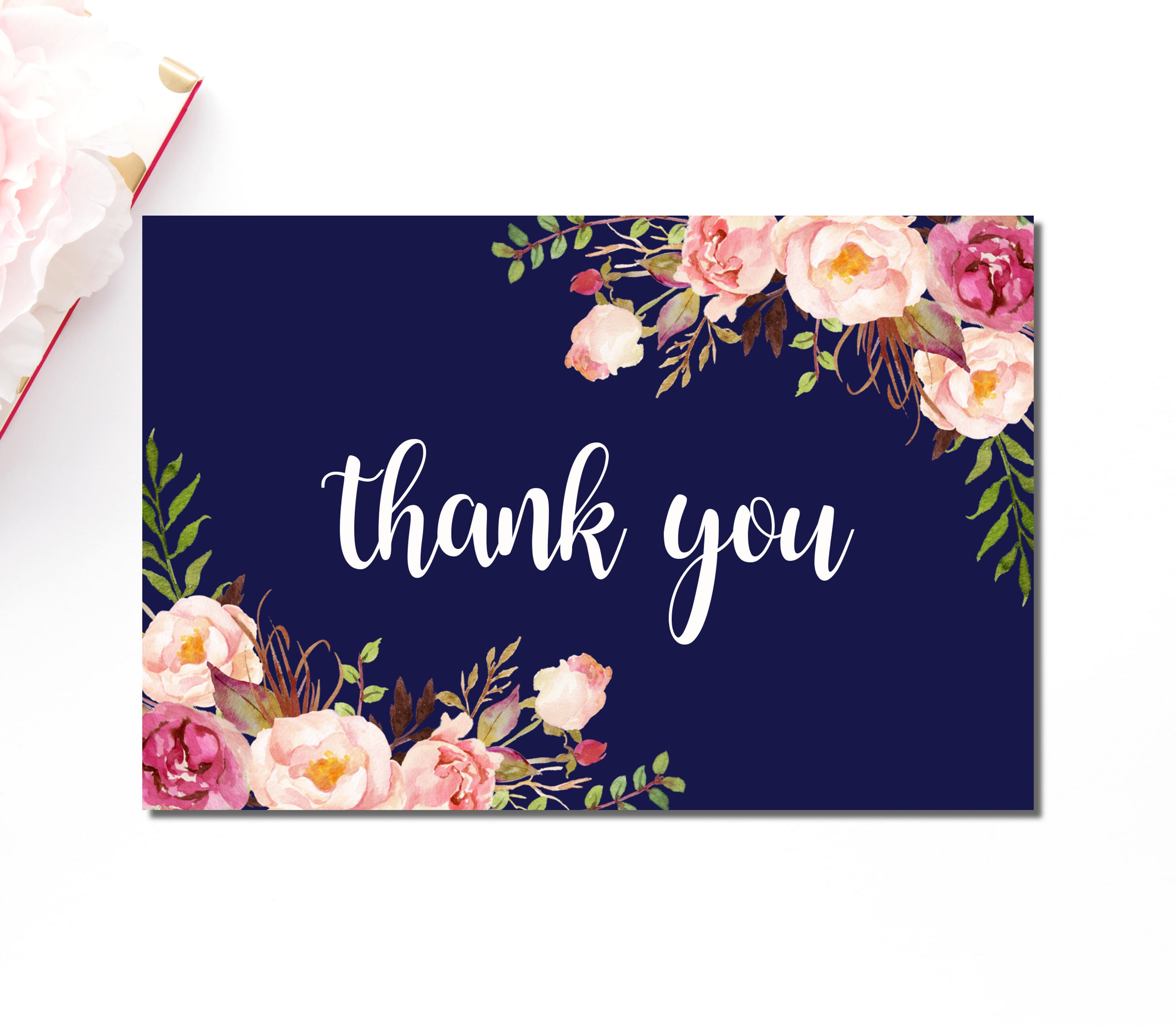 Navy Floral Thank You Cards Boho Pink Floral Thank You Note Etsy