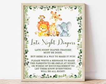 Late Night Diapers Sign Jungle Baby Shower Safari Animals Baby Shower Sign Diaper Thoughts Sign Printable Instant Download C76