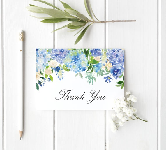 Hydrangea Thank You Template Dusty Blue Thank You Cards Wedding Printable Floral Thank You Card