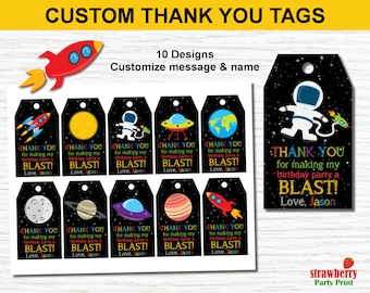 Outer Space Favor Tags Printable, Personalized Favor Tags, Thank You Tags, Gift Tags, Rocket Ship Space Birthday Party Decorations
