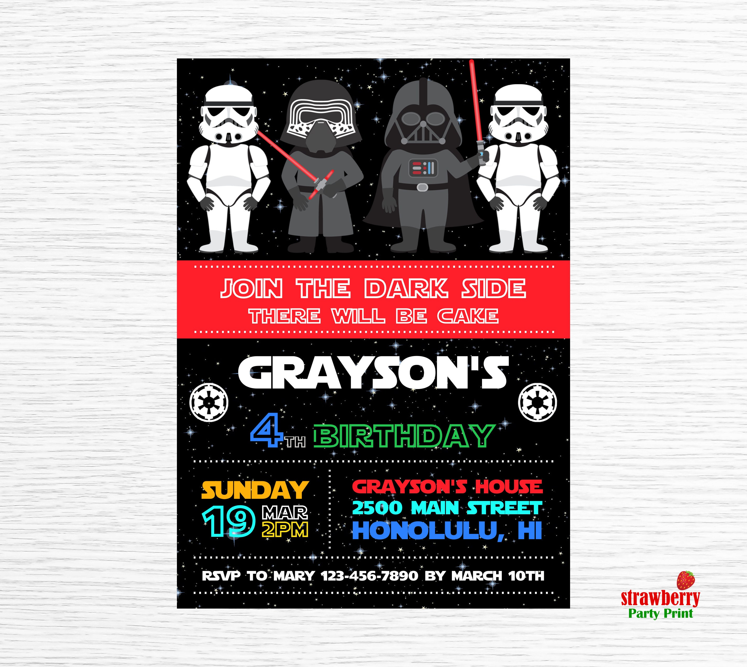 Star Wars Invitation Birthday Party