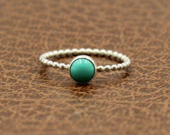 Turquoise Stacking Ring - Gift for Her - Stacker Ring - December Birthstone Ring - Jewelry Gift - Boho Ring